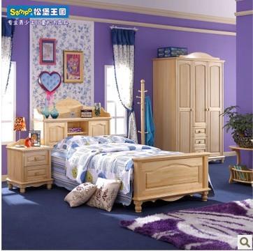 松堡王国青少年儿童家具韩式双人实木大床芬兰松水性漆SP-HC