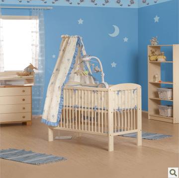 斯堪维亚suwem 进口婴儿床全实木BB床 可调高度松木环保