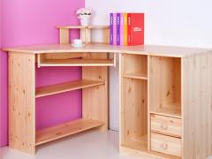 斯堪维亚进口转角电脑桌书柜组合实木电脑书桌北欧