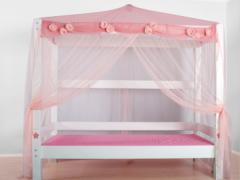 斯堪维亚suwem儿童床 公主帐幔床 女孩带护栏