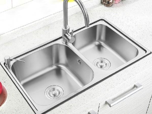 普乐美 304不锈钢加厚双槽洗菜盆RE102