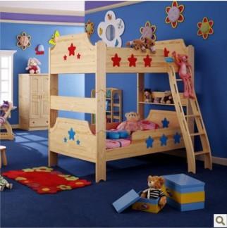 松堡王国实木儿童家具SP-C205 高低床护栏子母床