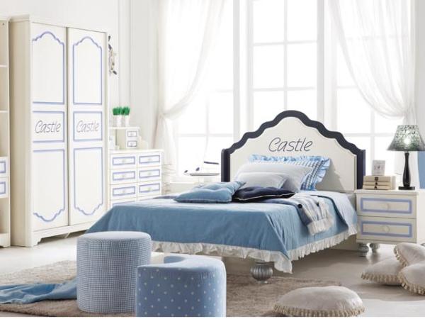 冬熊儿童家具 青少年男孩蓝色单人田园板式床8611