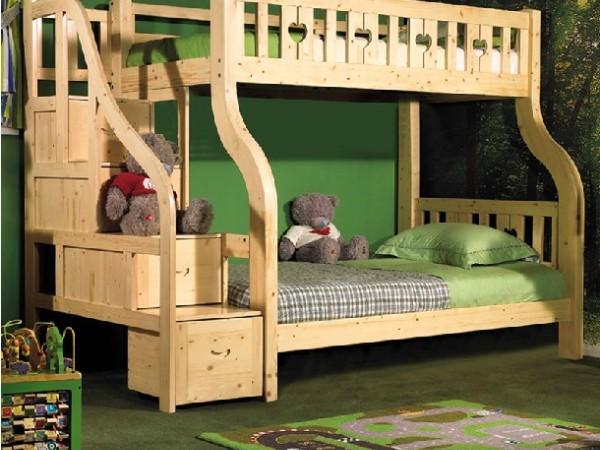 七彩人生 儿童梯柜高低实木子母床S2-BH1042