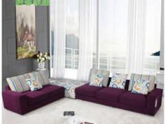 转角沙发 客厅 高贵紫色 布艺沙发 现代简约 I033
