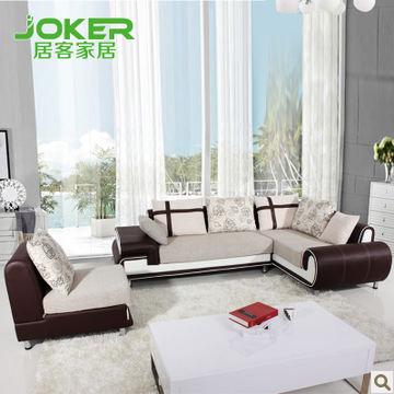 居客高档皮布沙发组合 冬夏两用沙发 新款 布艺沙发 B082