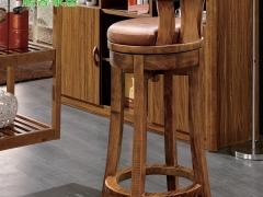 居客 现代中式 实木吧椅 虎斑木 吧台椅 酒吧椅 高脚椅 8
