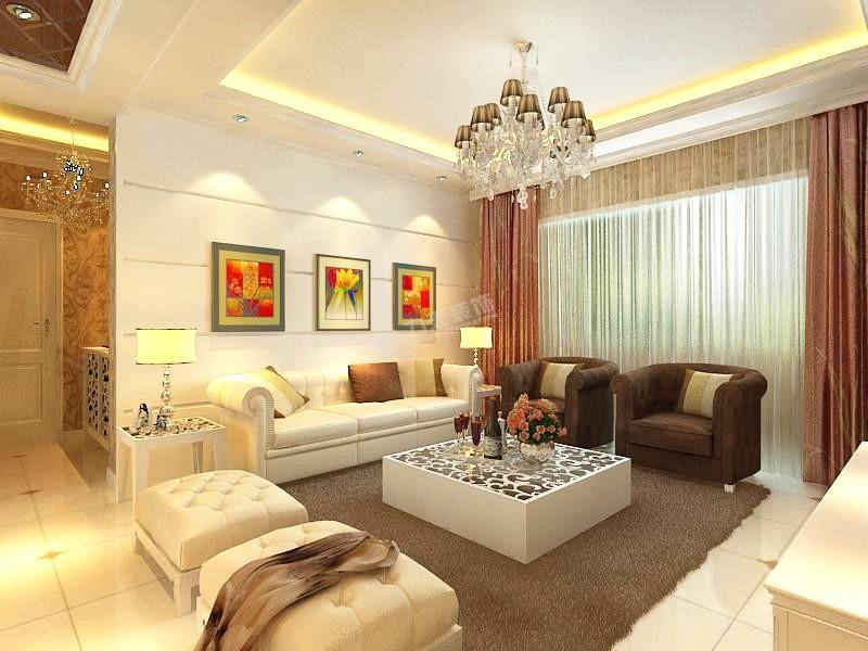 沙发装修效果图 简欧风格三居室客厅沙发装修效果图高清图片