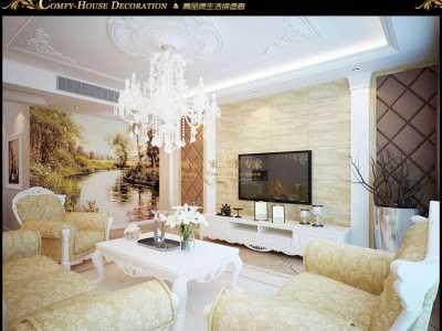 简欧风格-118平米三居室装修样板间