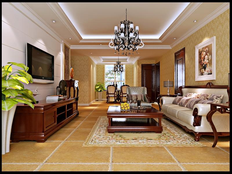 简欧风格三居室客厅背景墙装修效果图 高清图片
