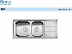 双槽不锈钢厨盆带沥水板及落水装置 不锈钢水槽洗菜盆