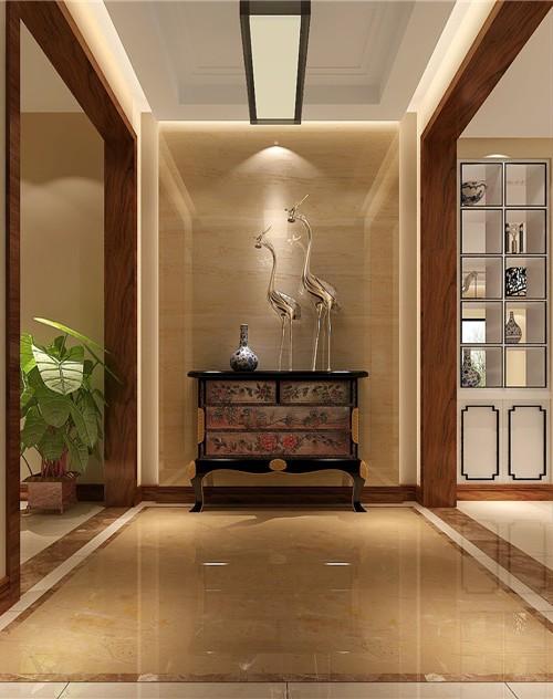 中式古典三居室玄关鞋柜装修效果图欣赏图片