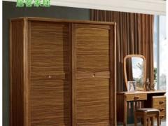 居客家居 新中式虎斑木色 移门实木衣柜 卧室双门趟门衣柜80