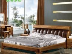 居客 中式虎斑木卧室双人床 高档实木床 卧室家具801