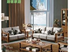 居客 新中式虎斑木客厅实木沙发 转角组合家具802