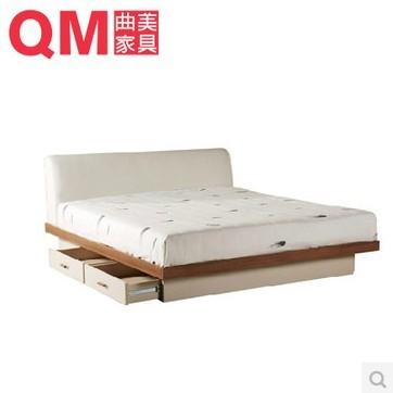 曲美家具 简约婚床 储物木床 卧室双人床 09ZC-B1
