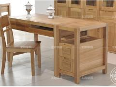 北欧绿荫BO-Y-G01纯榆木实木书房家具简约现代连体书桌