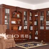 玛格定制家具 欧式L型书柜