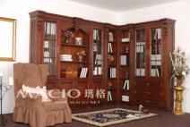 玛格定制家具 欧式L型书柜图片
