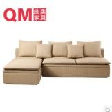 曲美家具 转角布艺组合沙发 储物实木沙发