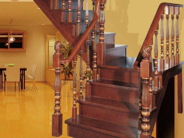 雅步迪美楼梯L型纯实木大梁楼梯