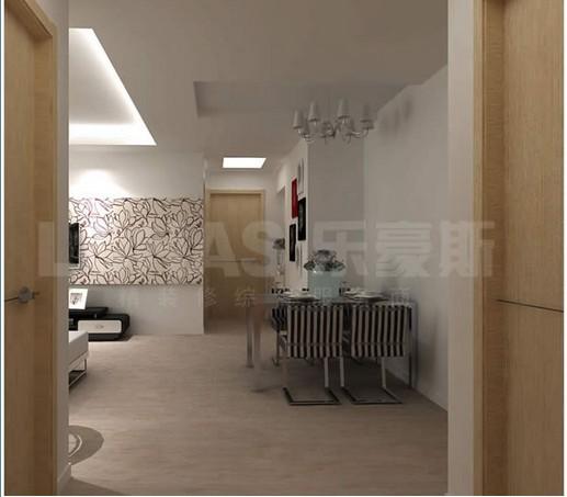 现代简约二居室客厅餐桌装修效果图高清图片