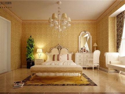 现代简约三居室卧室影视墙装修效果图