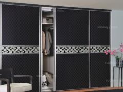 索菲亚深褐色卡昂皮纹推拉门定制衣柜 高品质时尚定做整体衣柜