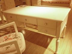 和风轩尼诗J455韩式田园风格家具牙象白1.4米带抽书桌