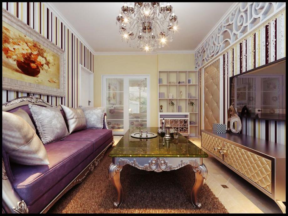 小户型装修效果图 简欧风格客厅二居室隔断装修效果图高清图片