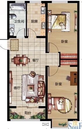 金域名邸-现代简约-二居室