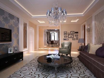 简欧风格五居室客厅吊顶装修效果图欣赏图片
