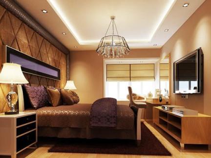 中式古典二居室卧室影视墙装修效果图欣赏