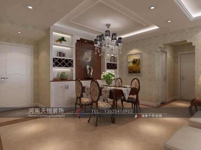欧美风情-147.85平米三居室-装修样板间