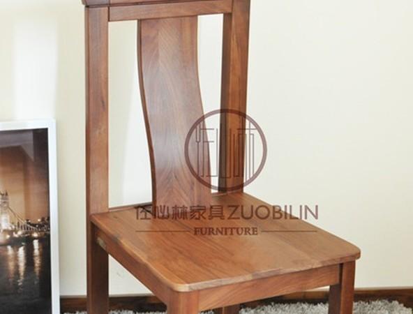 【佐必林】家具厂家直销北美黑胡桃木客厅餐厅餐椅c-004