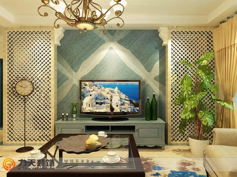 现代简约二居室客厅影视墙装修效果图高清图片