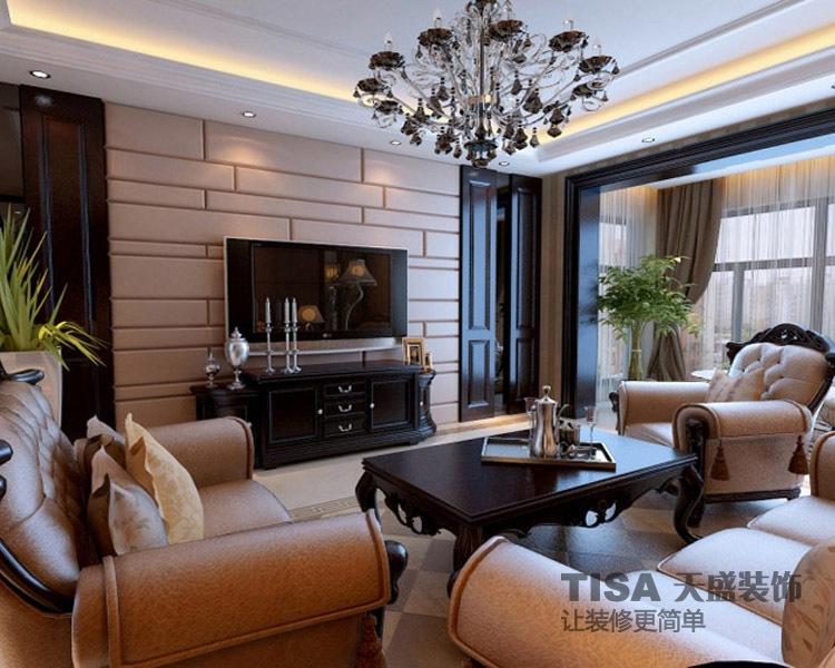 小户型装修效果图 简欧风格客厅一居室吊顶装修效果图高清图片