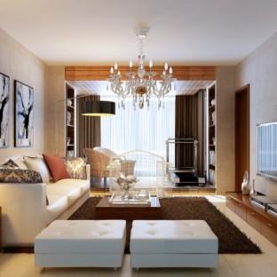 现代简约三居室客厅楼梯装修效果图