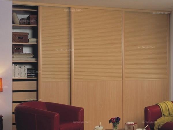 C8框枫木色平板衣柜