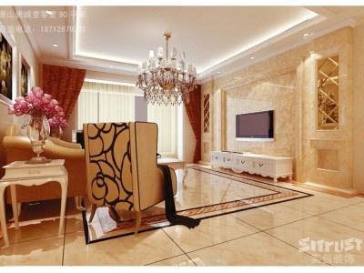 简欧风格-90平米二居室装修样板间