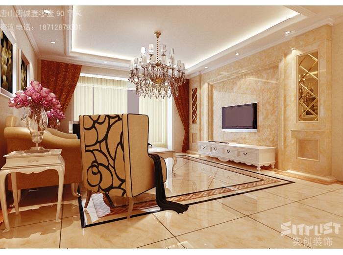 简欧风格-90平米二居室-装修样板间