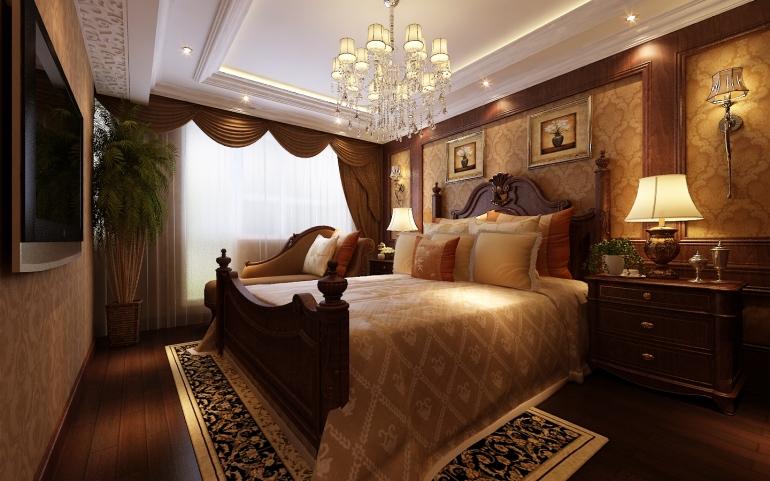 新古典欧式艺术风格别墅卧室床装修图片图片