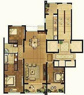 中式风格三居室户型图装修效果图