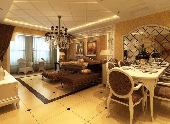 29平米三居室客厅餐桌装修效果图高清图片
