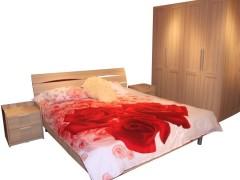 百强家具 卧室套房 四门柜 床头柜 双人床 浅腊木