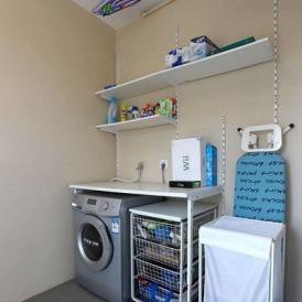 八款超省空间洗衣房装修效果图 洗衣机和水盆摆放组合高清图片