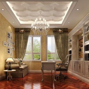 新中式别墅书房窗帘装修效果图图片