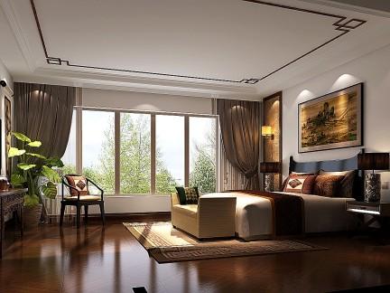 新中式风格四居室卧室窗帘装修效果图