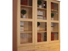 九州方园 LS6008 三门书柜 实木 本色