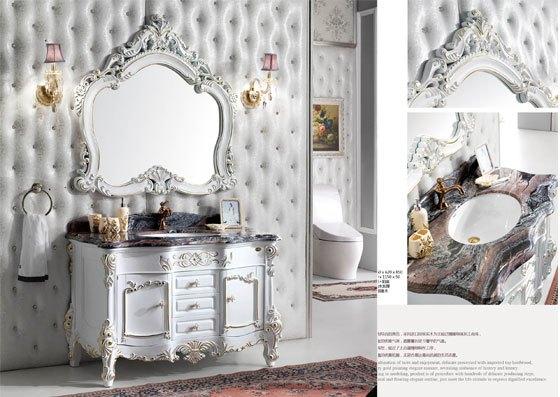 欧式仿古浴室柜橡木大理石镜柜卫浴柜组合 实木台盆柜落地